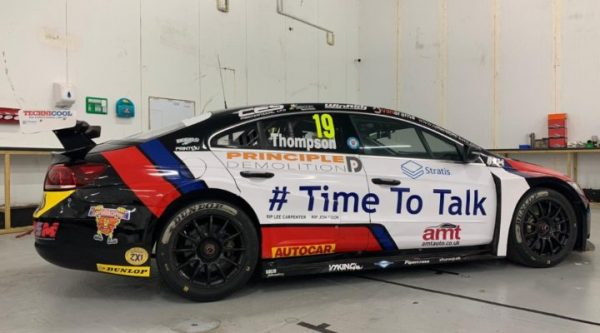 GTEC Sponsored BTCC star Thompson Supports World Mental Health Day at Brands Hatch